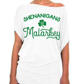 St Patrick's Day, Shirt, Shenanigans, Malarkey, Clover, Womens Clothing, off the shoulder, Slouchy Tee, St Pattys Day, Party, Womens Top