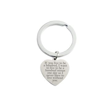 Solid Stainless Steel Dainty Heart Inspirational Keychain By Pink Box