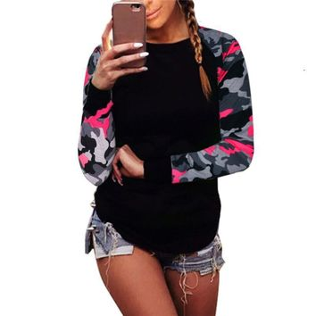 New Fashion Camouflage Tracksuits Long Sleeve Women Sweatshirts Cotton Pullover Top Shirt