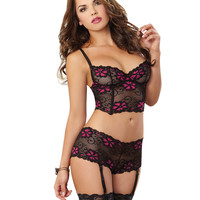 Provocative Lace Bustier and Open Heart Back Garter Panty