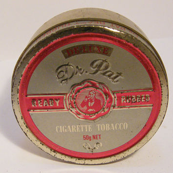 1950s Tobacco Tin Vintage Round Dr Pat Ready Rubbed Cigarette Tobacco 50g