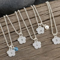 Personalized Flower Necklace with Initial - with Birthstone or Pearl