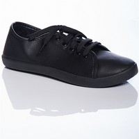 Breckelles Step It Up Faux Leather Lace Up Sneaker - Black