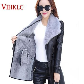 Women 's winter skin jacket in the long section pure color hair collar S - V - neck fashion PU leather velvet coat jacket A191