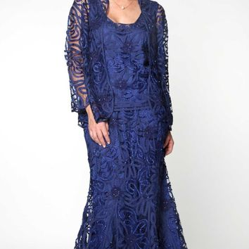 Soulmates - D9122 Flower Lace Crochet Three Pieces Evening Gown