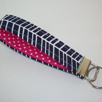 Key FOB / KeyChain / Wristlet - Navy and White Herringbone with Hot pink white polka dots