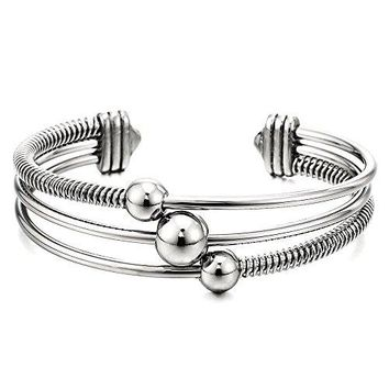 ThreeRow Womens Stainless Steel Adjustable Open Cuff Bangle Bracelet with Cable and Ball Charms