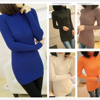 Women Turtleneck Long Knit Casual Long Sleeve Pullover Outwear Tops Sweater = 1958169924