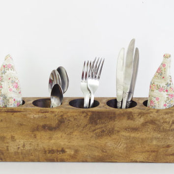 vintage sugar mold // rustic wood utensil holder // rustic pen holder // vintage candle holder // wedding table decor // 5 hole sugar mold