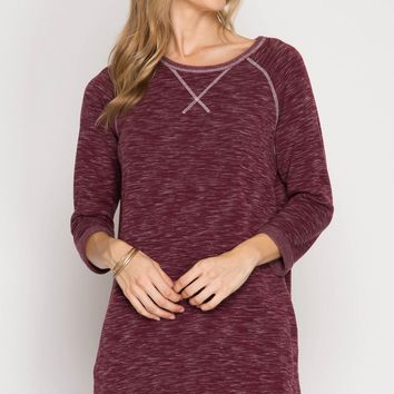 Wine Brushed Knit Shift Dress (final sale)