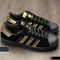 """Adidas"" SUPERSTAR Fashion Winter Suede Black/Gold Sneakers"