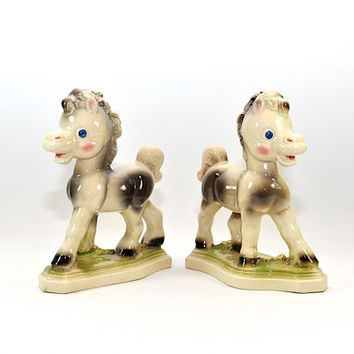 Pair Vintage Rempel Frisky the Pony Bookends - Pony Figurines - Horse Decor - Ceramic - Nursery Decor