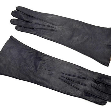 Vintage Long Kidskin Gloves, Aris Real Kid Gloves, Black Leather Opera Gloves, Made in Germany, Size 7.5, circa 1940s