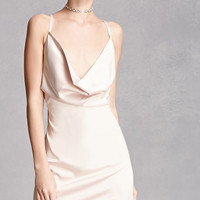 Cowl Neck Satin Dress