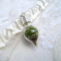 moss terrarium necklace glass teardrop silver