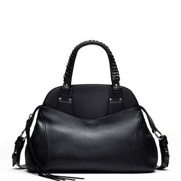 Elizabeth and James Trapeze Leather Satchel Bag, Black