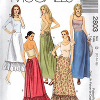 McCall's 2803 Sewing Pattern Full Length Maxi Skirt Ruffle Hem Sexy Tie Back Waist Dart Fitted Boho Hippie Style Uncut Plus Size Waist 28 32