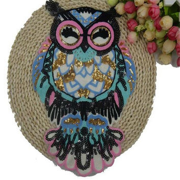 Patch sequins cute owl bird embroidered patches for clothes DIY clothing Brand luxury Christmas gift free shipping