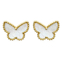 "Van Cleef & Arpels Gold & Mother-of-Pearl ""Sweet Alhambra"" Butterfly Earstuds"