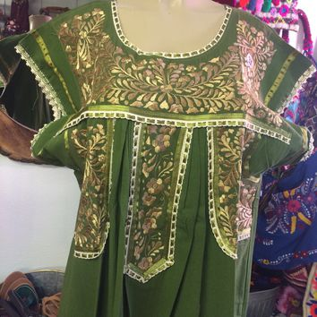 Mexican Fino Embroidered Maxi Dress Green and Gold