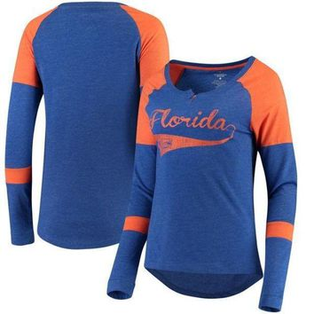 ONETOW NCAA Florida Gators Colosseum Women's Routine Raglan Henley Long Sleeve T-Shirt