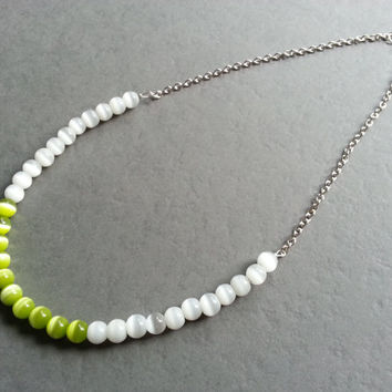 Lime Green Necklace; Bright Colors; White; Chunky Bead; Color Block; Summer; Spring Jewelry