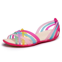 Women Sandals 2017 Summer New Candy Color Peep Toe Stappy Beach Valentine Rainbow Croc Jelly Shoes Woman Wedges Sandalias