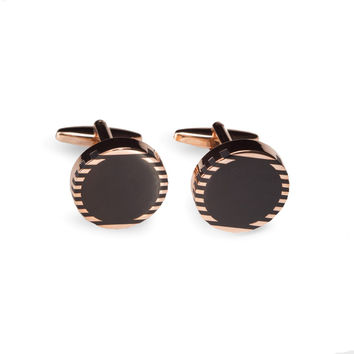 """Rose Gold and Black Onyx"" Round Cufflinks"