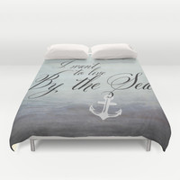 I want to live by the sea - black Duvet Cover by Mockingbird Avenue