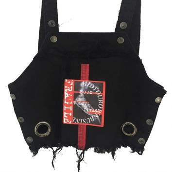 BIG EYELET - DAMAGE DENIM BUSTIER -FRAGILE- /BLK - M.Y.O.B NYC ONLINE STORE
