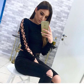 Long Sleeve  Slim Fit Split Ribbed  Knit Crop Sweatshirt  Top Sweater