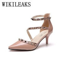 Patent Leather high heels shoes woman sapato feminino rivets wedding shoes zapatos mujer tacon sexy pumps women italian shoes