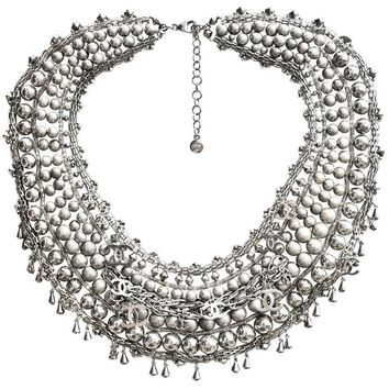 Chanel Paris-Bombay Silver Beaded Bib Necklace