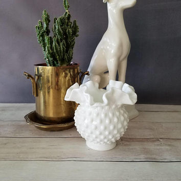 Fenton Hobnail Milk Glass Vase/ Fenton Hobnail Milk Glass Basket/ Milk Glass Bowl/ Double Ruffle Milk Glass/ Wedding Centerpiece/ Small Vase