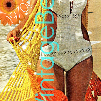 One Piece Swimsuit CROCHET PATTERN 70s Retro Crochet Pattern Sexy Swimsuit Crochet Pattern Summer Stole Wrap Instant Download PDF Pattern