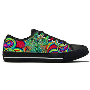 Psychedelic Cat Eye by Alex Aliume - Low Top Canvas Shoes
