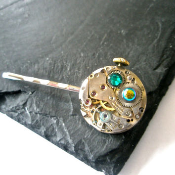 Steampunk Hair slide Clockwork Accessories Tie pin Victorian Dress Suit Gothic wedding