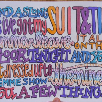 Suit and Tie Lyric Drawing by TaylorandEmilysEtsy on Etsy