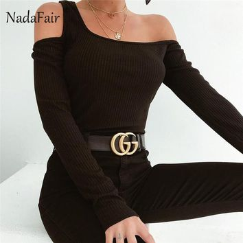 Nadafair One Shoulder Riber Knitted Top Sexy Long Sleeve T Shirt Women Harajuku Hollow Out Autumn Spring Black Tee Top Female