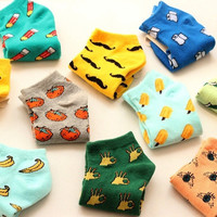10 Candy color 2014 New Fashion Women Pattern Cotton Carton Winter Autumn knit Boat Ankle Cute Socks/Meias/Calcetines