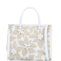 Nancy Gonzalez Crocodile & Straw Square Tote Bag