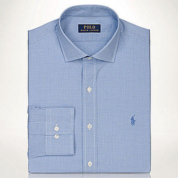 Polo Ralph Lauren Slim-Fit Micro-Checked Estate Dress Shirt - Blue/Whi