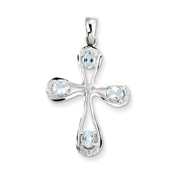 925 Rhodium Flashed Silver Oval Aquamarine and Diamond Cross Pendant Charm - 35mm