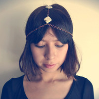 White Howlite Stone Headpiece Head Chain