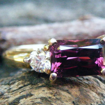 Purple pink spinel and diamond engagement ring, alternative engagement ring, purple spinel eternity ring, GSI diamond spinel, conflict free