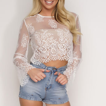 Jo Lace Crop Top - White