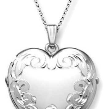 """Sterling Silver Engraved 4-Picture Heart Locket, 20"""""""