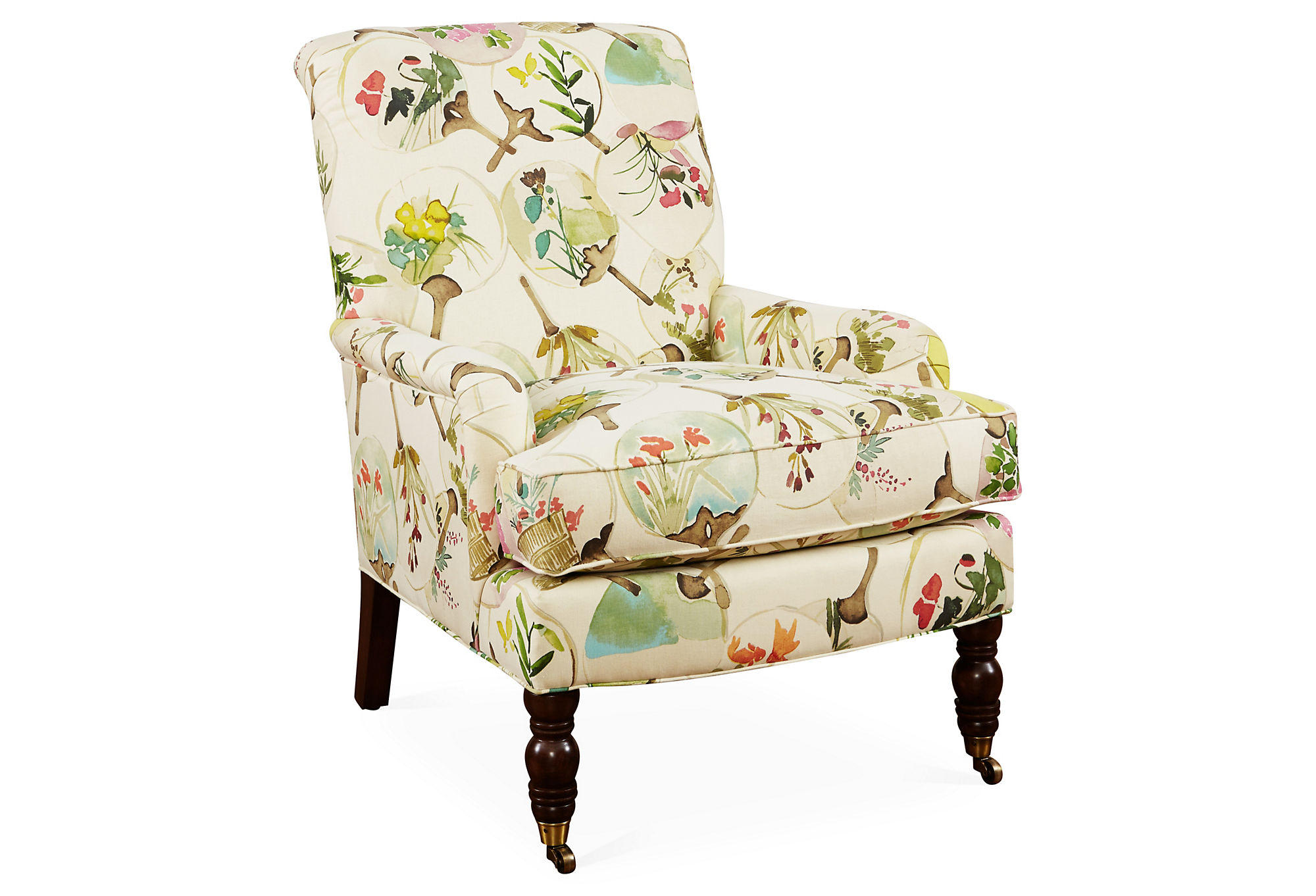 Abigail Floral Accent Chair Beige Multi From One Kings Lane