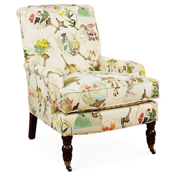 Abigail Floral Accent Chair, Beige/Multi, Club Chairs