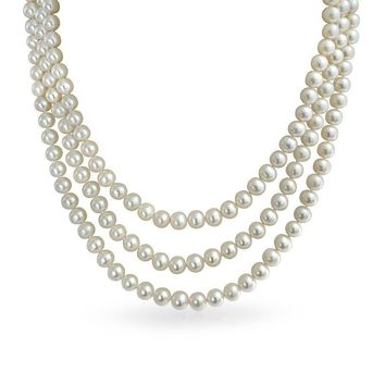3 Strand White Freshwater Cultured Pearl 7MM Necklace 16-19 Inch